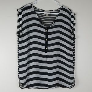 Loft Sheer Black/White Blouse Striped